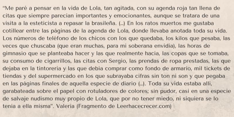 fragmento del diario de lola