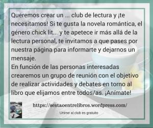 Queremos crear un ... club de lectura y ¡te necesitamos! Si te gusta la novela romántica, el género chick lit... y%2